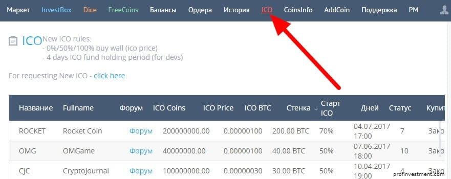 ico на крипто-бирже yobit