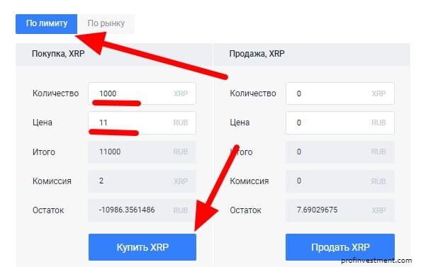 лимитный ордер на покупку криптовалюты