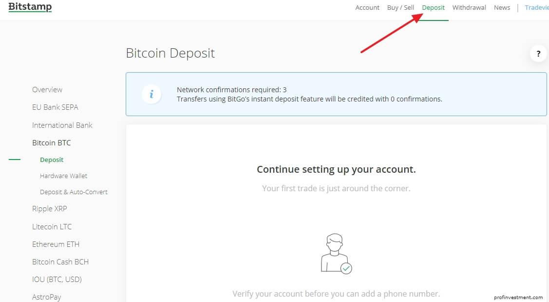 bitstamp bitcoin tempo di deposito)