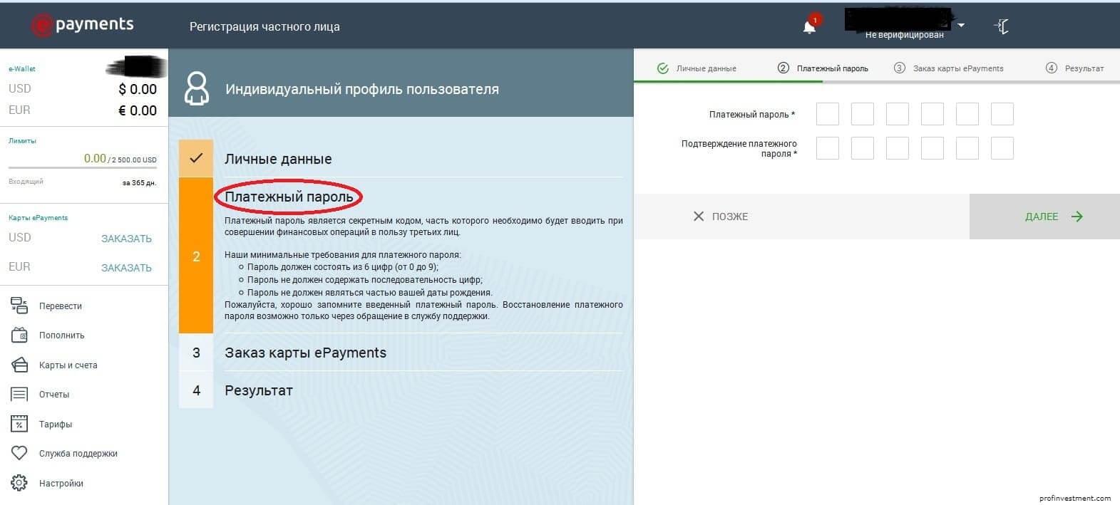 платёжный пароль ePayments