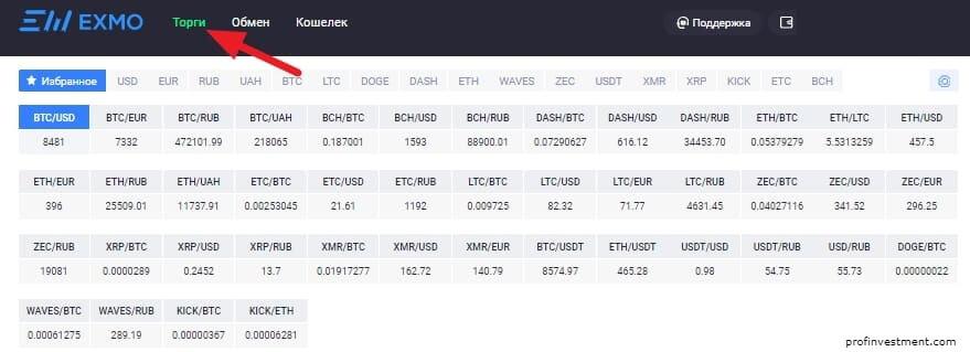 список криптовалют на бирже