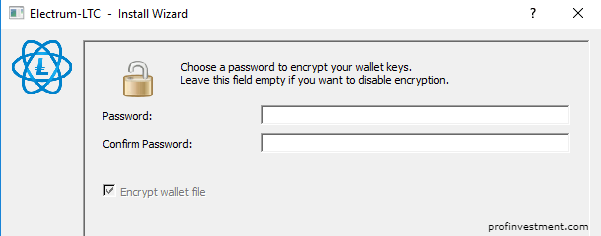 задать пароль для программы лайткоин electrum