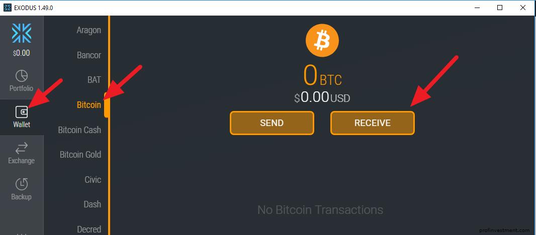 пополнения bitcoin кошелька exodus