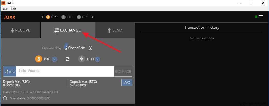 обмен криптовалюты на сайте jaxx.io