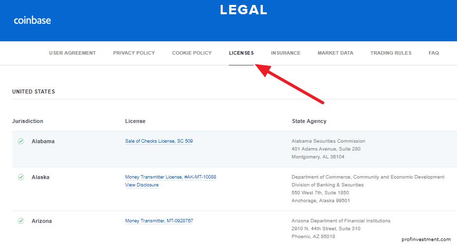 лицензии биржи coinbase