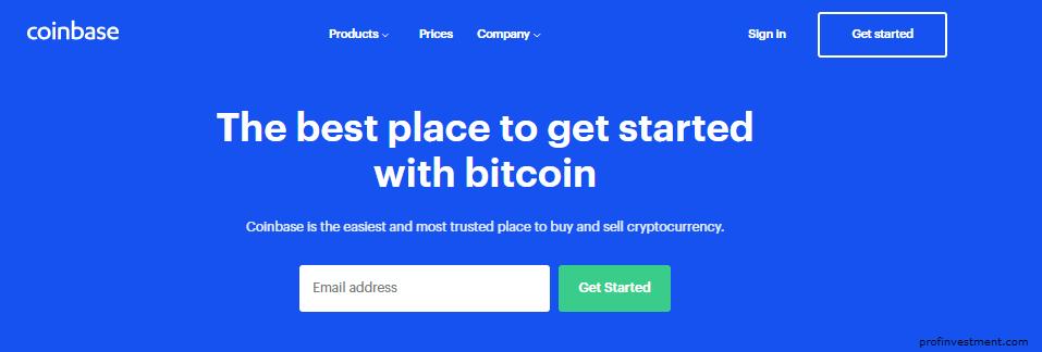 Регистрация на официальном сайте Coinbase
