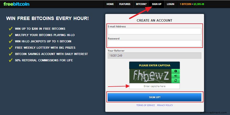 Регистрация на сайтеFreebitcoin