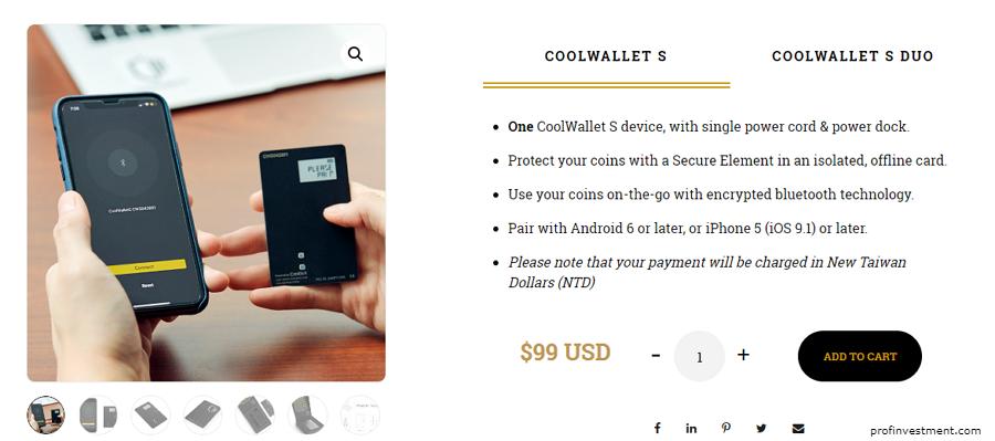 бумажник для криптовалюты Coolwallet