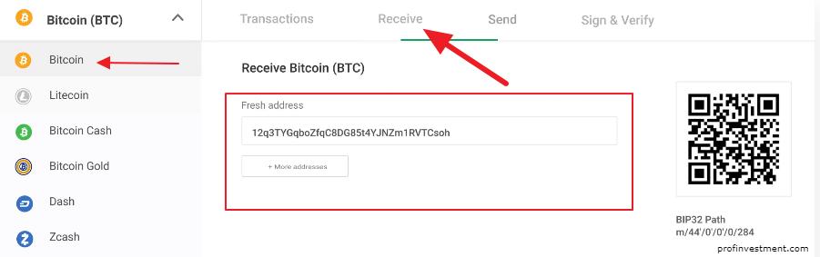 получение адреса криптовалюты в trezor