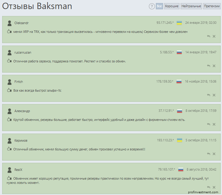 отзыв клиентов Baksman