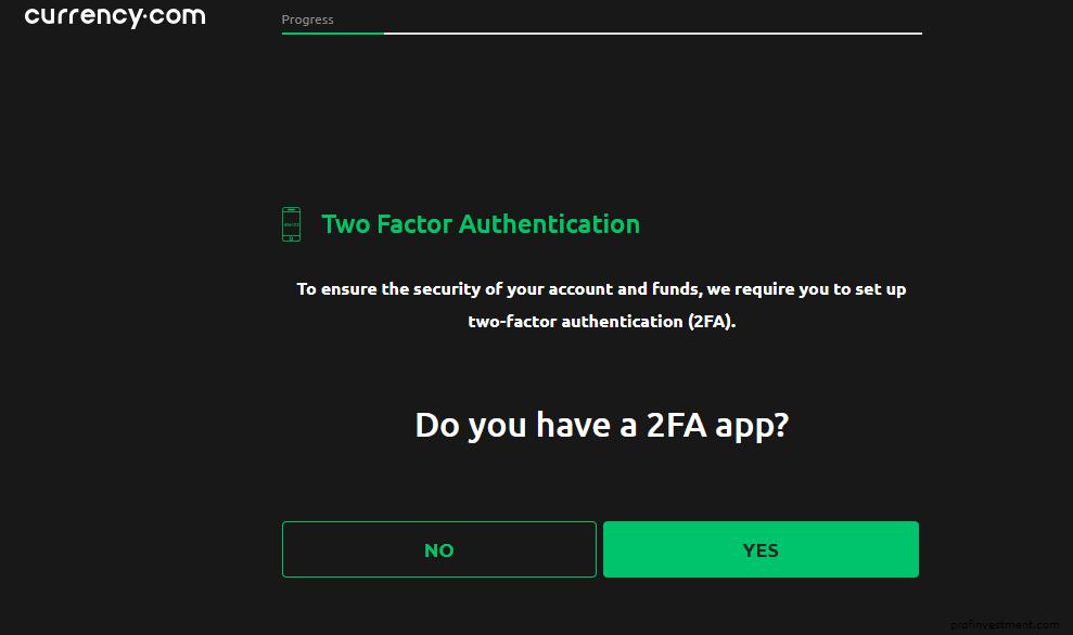 подключение 2 FA для аккаунта Currency