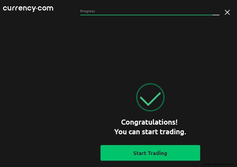 успешная регистрация на сайте currency.com