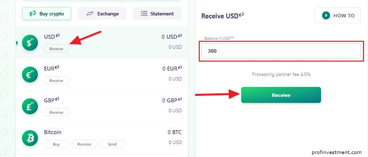 внесение фиатных валют на счёт EO Finance