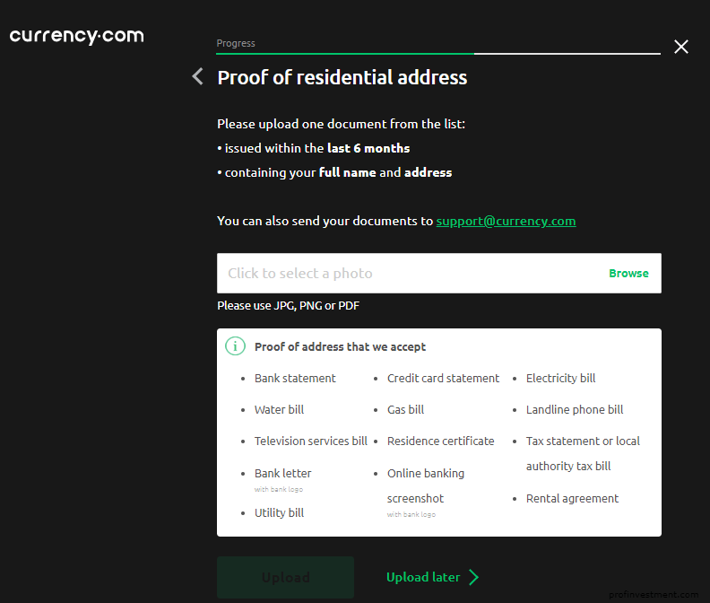 верификация адреса при регистрации аккаунта Currency com