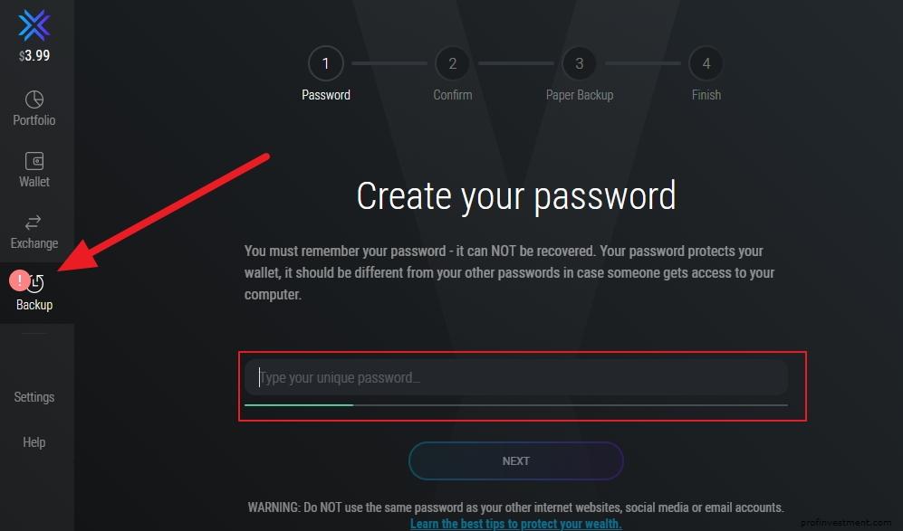 создание пароля на кошелек Exodus
