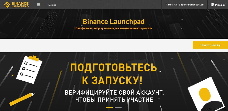 IEO Binance Launchpad покупка криптотокенов