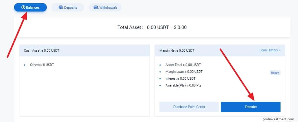 перевод криптовалюты на маржинальный счёт Битмакс