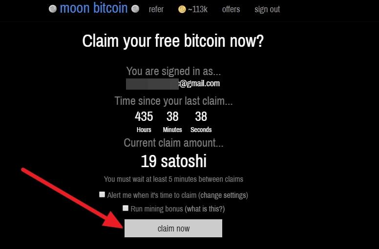 получение бесплатных биткоинов на Moon Bitcoin
