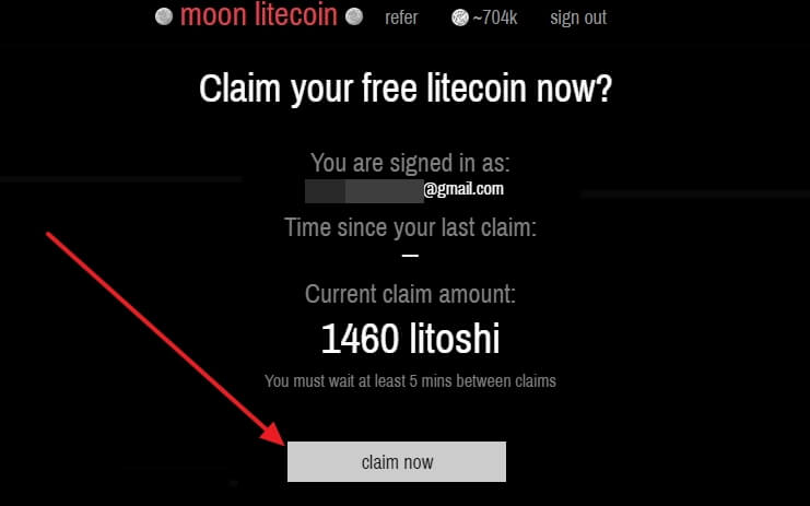 запрос бесплатной криптовалюты в MoonLitecoin