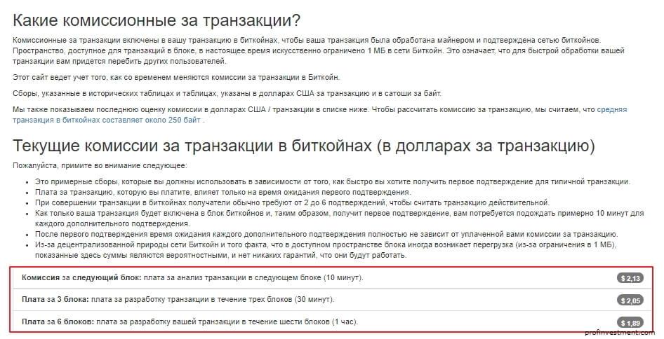 сайт подбора минимальной комиссии bitcoinfees.info