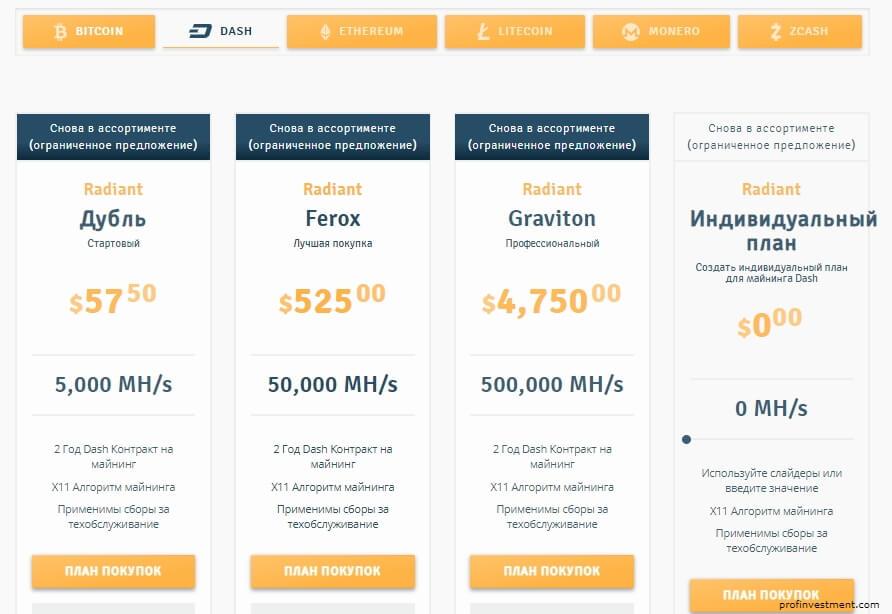 цены на контракт DASH от Genesis Mining