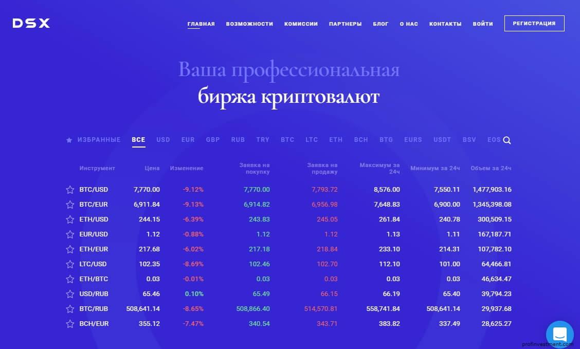 биржа криптовалют DSX