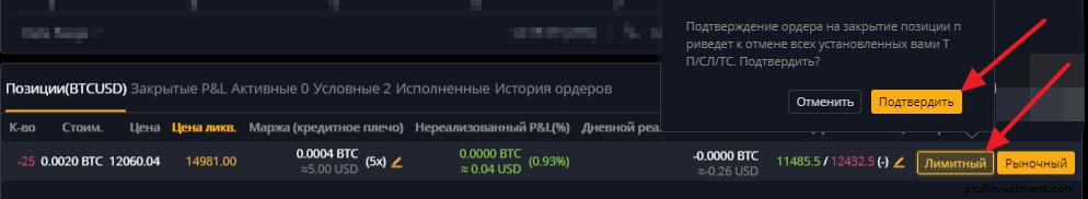 закрыть позицию на Bybit