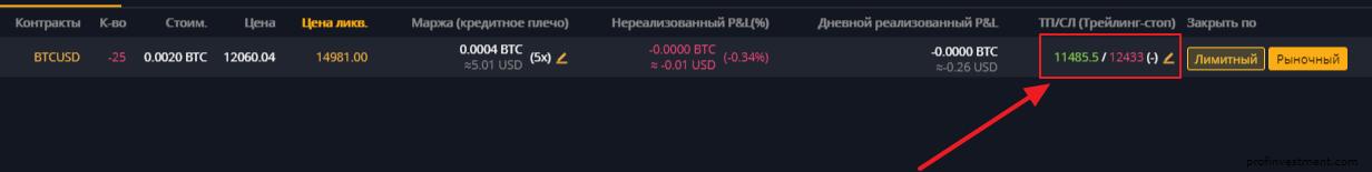 установка стопа и тейка на бирже Bybit