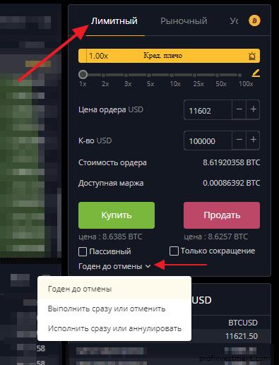 параметры лимитного ордера на Bybit.com